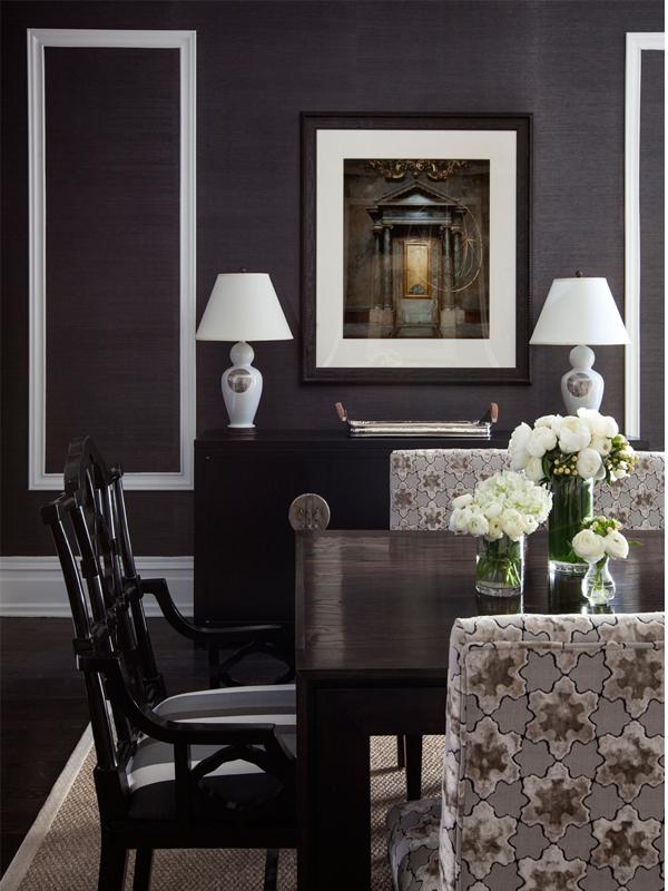 charcoal grasscloth dining room vignette