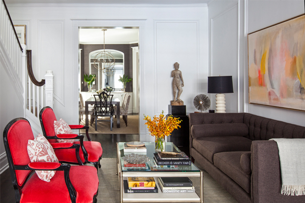 living room vignette with coral mohair chairs