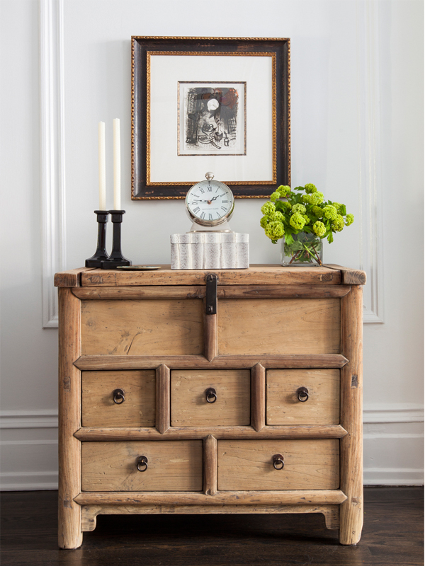 living room vignette with wood chest