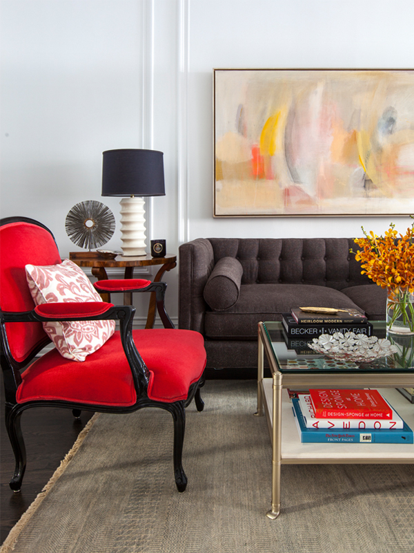 living room with abstract painting
