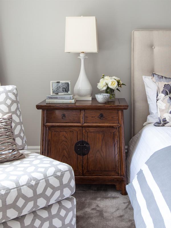 master bedroom nightstand vignette
