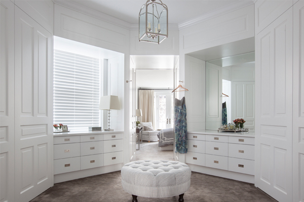 white paneled dressing room