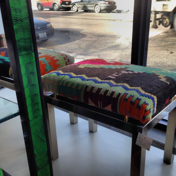 kilim and chrome benches