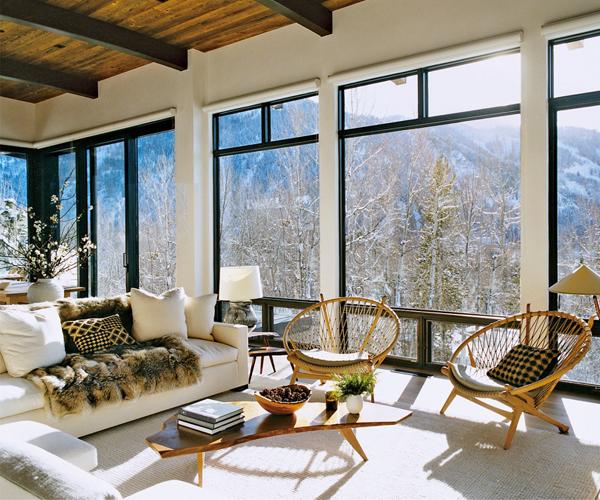 Aerin Lauder's Aspen Living Room
