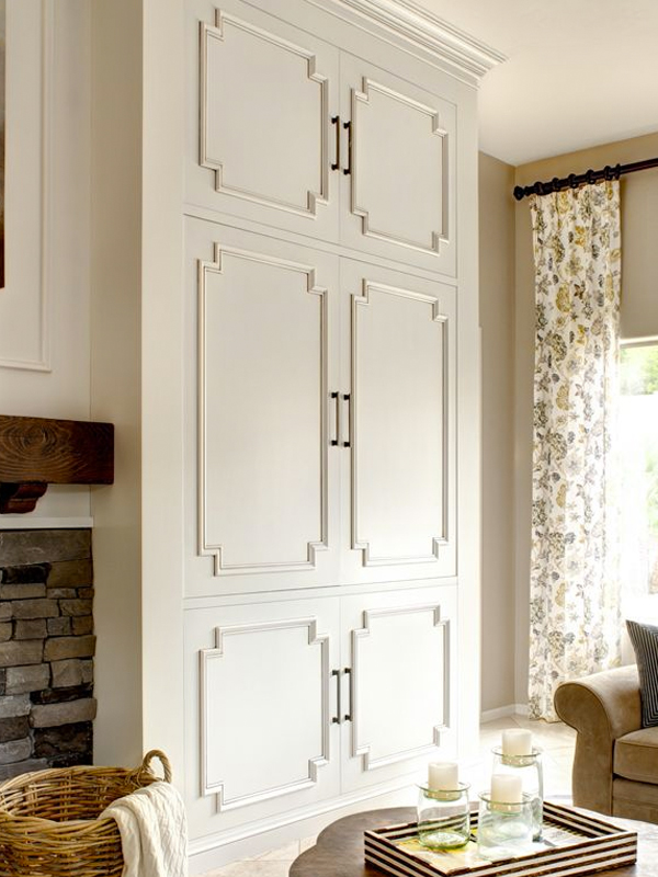 bookcase door with trim detail