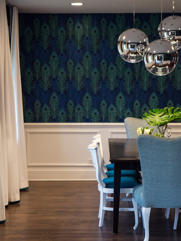Dining Room- Peacock Wallpaper with Mirror Ball Chandelier