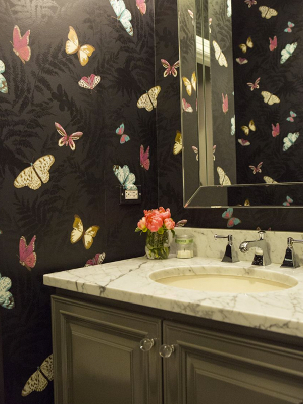 butterfly wallpaper powder room
